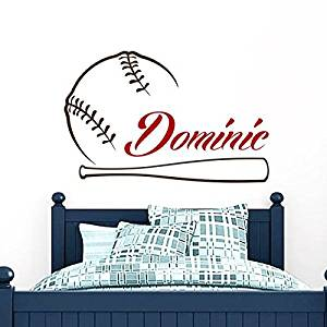"Baseball Name Wall Decal Boy Custom Personalized Boys Name Decor Vinyl Decal Baseball Kids Teens Boys Room Sports Wall Decal Nursery ZX263 (n) (22"" Tall x 35"" Wide)"