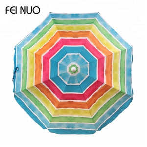 OEM service wholesale big windproof rainbow printed polyester sea umbrella