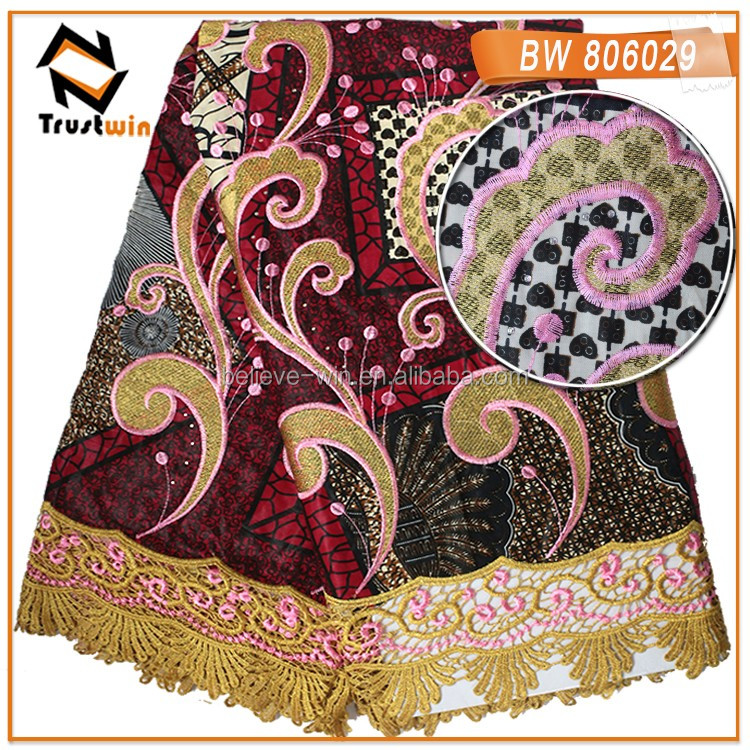 2016 top sale wax lace fabrics african of BW10017