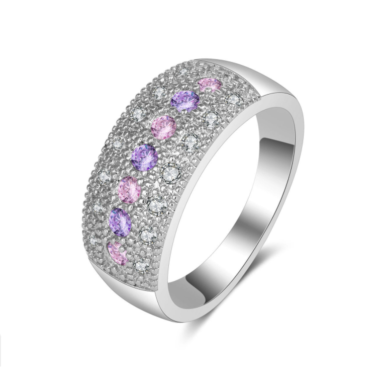 Pink Purple Crystal Diamond Ring Large Cubic Zirconia Band Ring Anniversary Promise Eternity Ring for Women and Girls