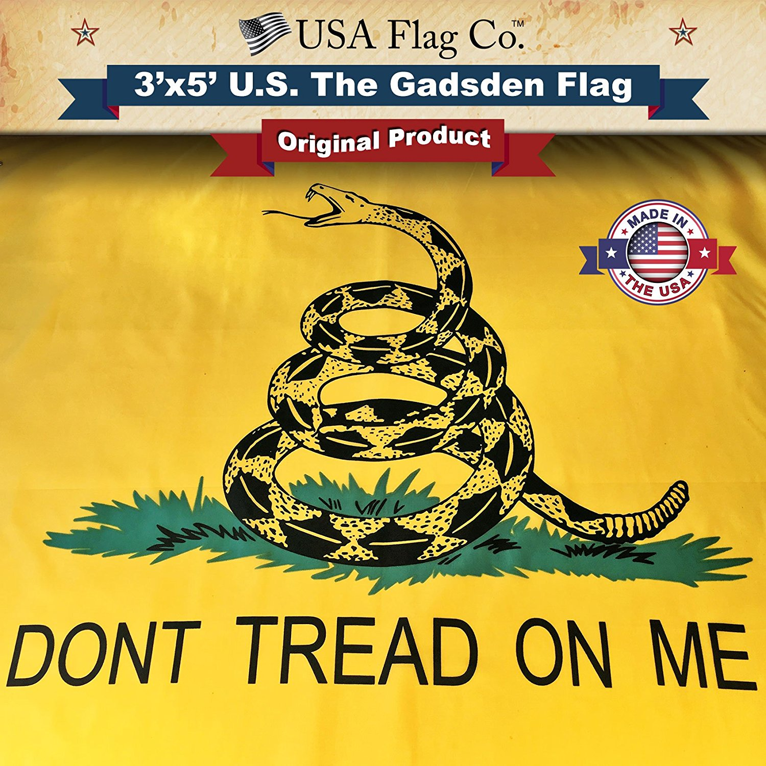 Gadsden Flag (Don't Tread On Me) by USA Flag Co. is 100% American Made: The BEST 3x5 Outdoor US Flags, Made in the USA (3 x 5 foot)