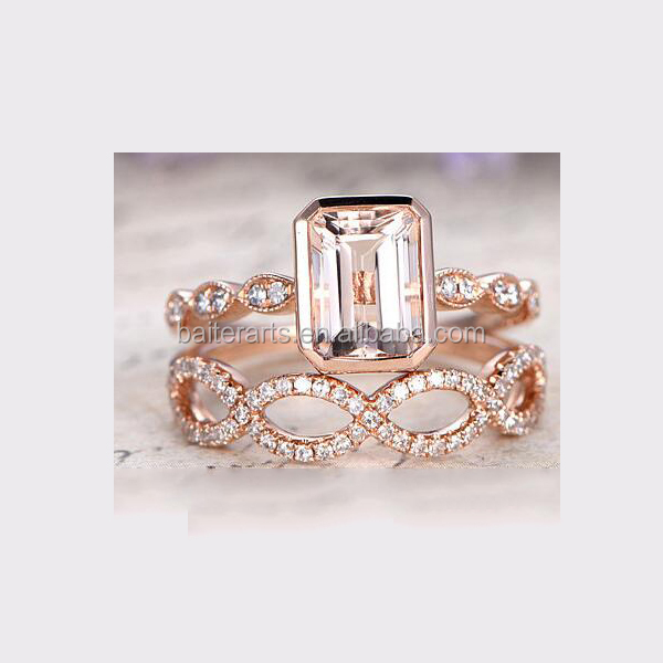 Rose Gold Plated 925 Sterling Silver Cubic Zirconia CZ Diamond Emerald Cut Morganite Twist Enagement Bridal Ring Set