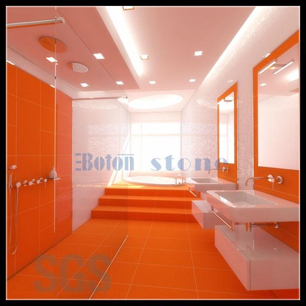 Charming Orange Interior Bathroom Design Quartz Floor Tiles Wall
