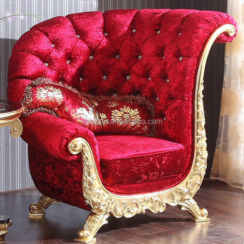 Top Quality Luxuary European Style Princess Royal Throne Chair With Diamond Buttons(HB500)