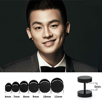 Round Barbell Black Stainless Steel Back Ear Studs Men Earrings