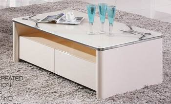 Mc328 White Simple Modern Cheap Mdf Living Room Furniture Stainless Steel Coffee Center End