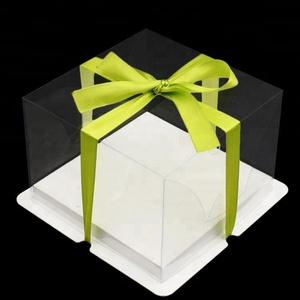 Yilucai China High Quality Custom Size Birthday Sweet Ribbon Plastic Transparent Display Cake Box With Clear PVC