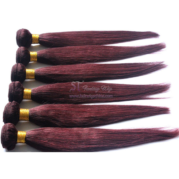 Wholesale 99j straight hair extension 16 inch malaysian hair weave