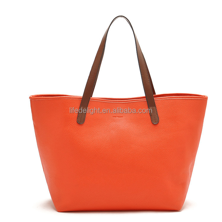 wholesale flexible size orange PU lady hanbag, customed printing snap PU women hand tote bag