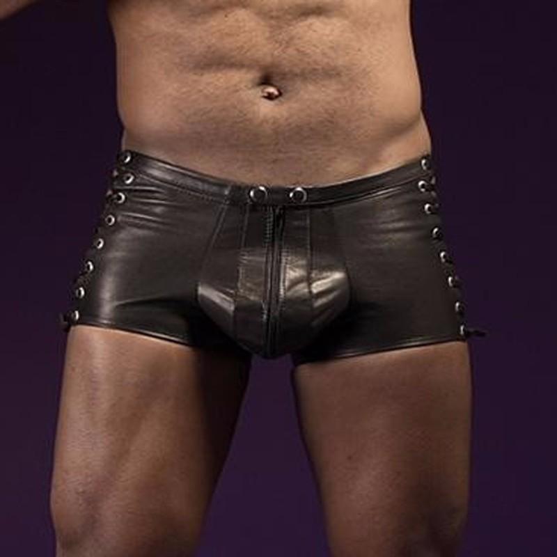 6b7ec5df4 2019 Faux Leather Mens Exotic Apparel Men Boxers Shorts Transparent ...