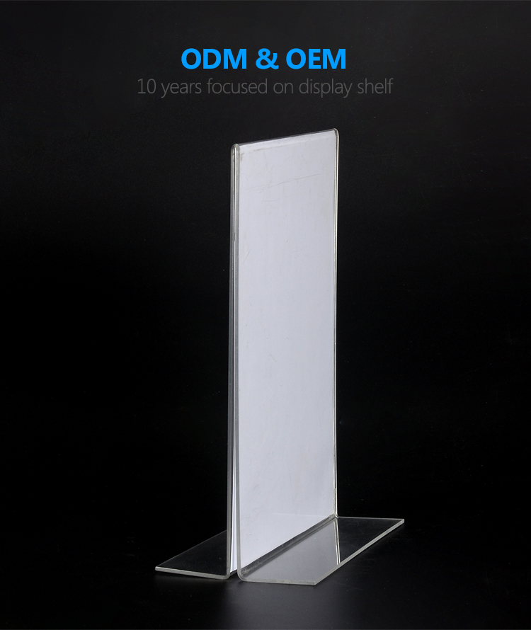 Custom A3 A4 A5 B4 B5 menu clear plexiglas stands insert teken houder display rack acryl stand