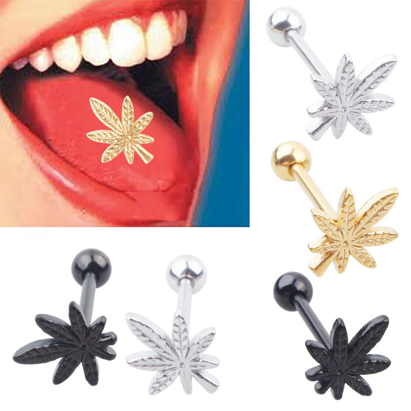 30pcs /Lot 316L Stainless Steel Leaf Tongue Barbell Tongue Ring Body Piercing Jewelry фото