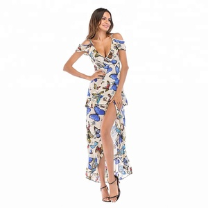 Fashion Printed Deep V Collar Irregular Sling Off-shoulder Dresses Ladies Sexy