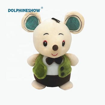 23CM Height Cheap Stuffed Animal Plush Mouse Toy Wear Green Jacket Cute Rat Toys Plush Toy Mouse for promotion