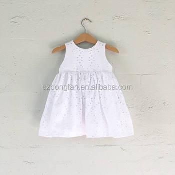 b288b594 Clásico diseño niñas bordado inglés vestido encaje blanco vestidos para ...