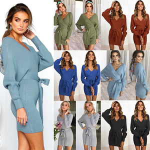 2019 New Arrival  Autumn sexy lace v-neck hip long sleeves women  dress sweater dress 6 color