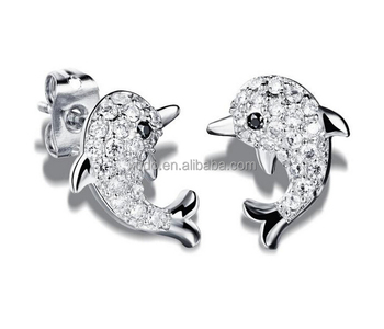 lovely zirconia dolphin stud earring 18k gold plating earring jewelry free shipping