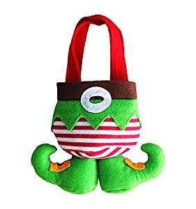 Aimeio New Year Christmas Cute Elf Candy Bags Red Snowflake Socks Candy Bag Gift Bags Christmas Decoration