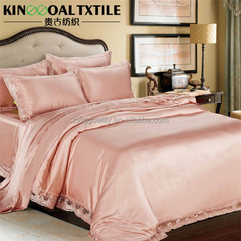 Good Luxury Soft Pure Silk 19mm Seamless Silk Bed Linen With Lace Around Pink