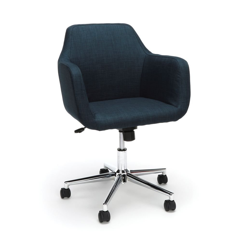 "Upholstered Office Chair Dimensions 24.75""W x 26""D x 32.75-35.50""H Seat Dimensions 16.75""Wx15.50""Dx17.50-20.25""H Back Dimensions 21.5""Wx15.5""H Weight 83 lbs - Blue Fabric/Chome Base"