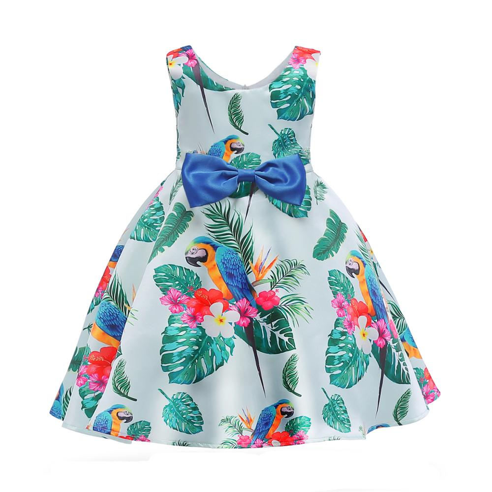 2019 New <strong>Design</strong> <strong>Girls</strong> casual summer Dress Sleeveless Knee length Frocks Kids Green Printed Parrot Summer Casual Dress for <strong>girls</strong>