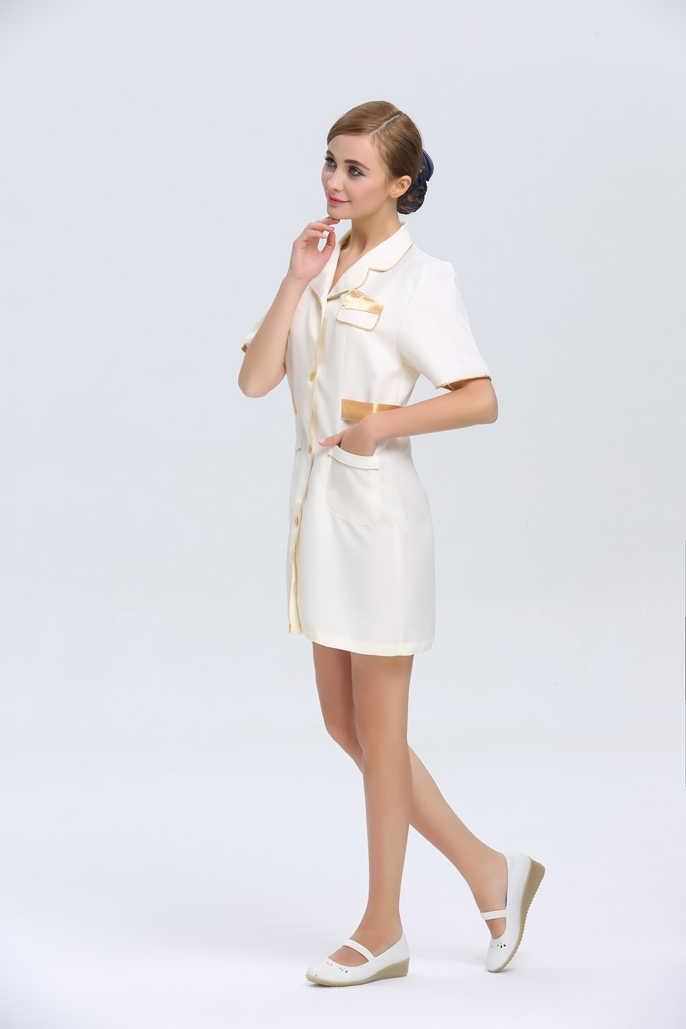 Polyester different types of uniform beauty hair salon for Spa uniform online