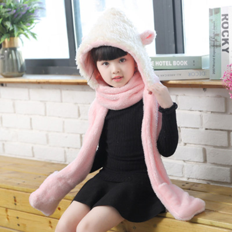 New Style Children Cute Rabbit Ears Hat Thick Kids Winter Hat and Scarf Sets