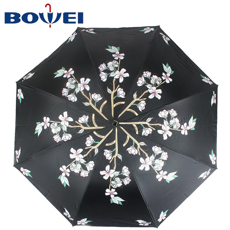 2020 Fashion  Flower Printed Foldable Promotional  Manual UV Protection 3 folding umbrella with Logo Printing
