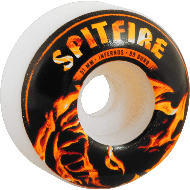 Spitfire Inferno 51mm White W/Black/Fire Skateboard Wheels (Set of 4)