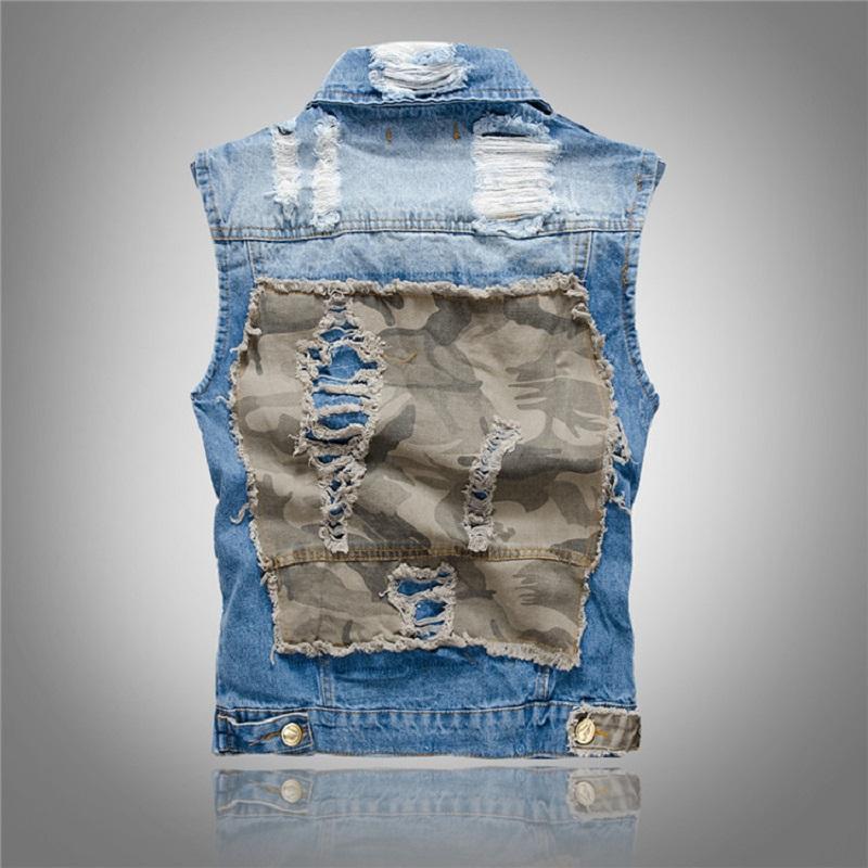 Classic Vintage Mens Jeans Vest Patch Designs Men Punk Rock Vest