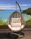 Leaf pattern wicker woven home outdoor or living room chair furniture rattan balcony swing