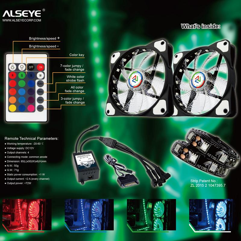 ALSEYE CLS-200 RGB Fan 120mm Remote PC Fan RGB Adjustble 2 Strips and 2  Fans Kit