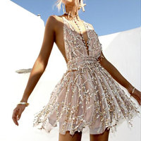 Gold mini dress Backless halter tassel Summer lace dress with gorgeous decoration