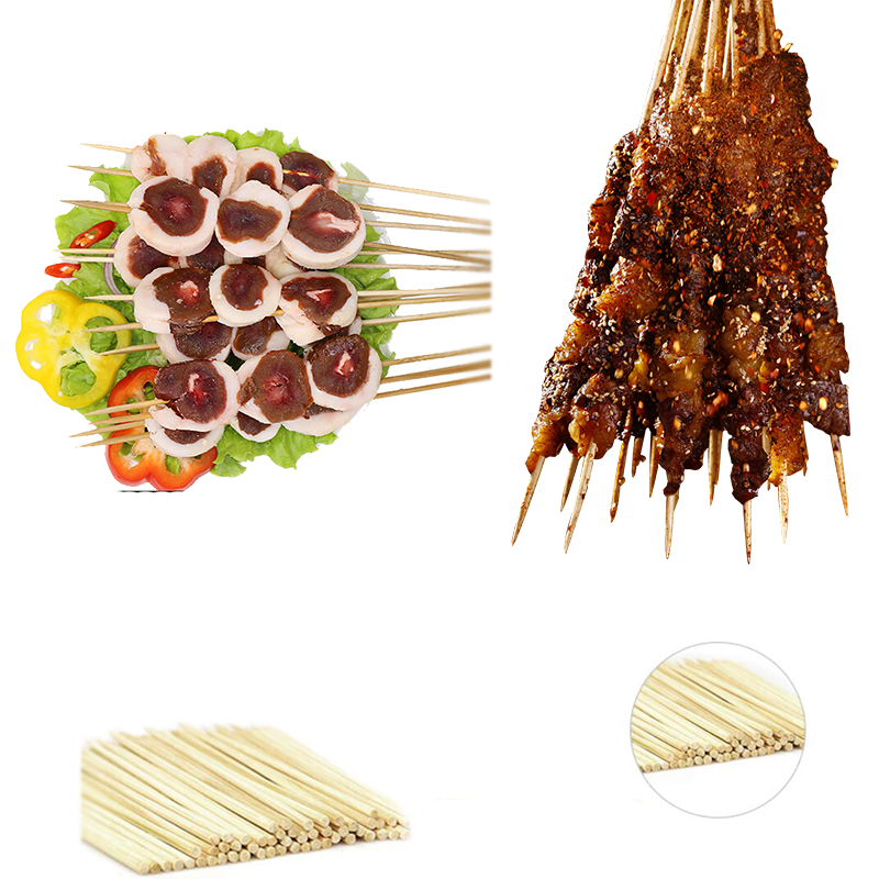 40 45 50 60 cm Wooden Barbecue Sticks Custom Logo Knot Kabob Food Bbq Color Bamboo skewer