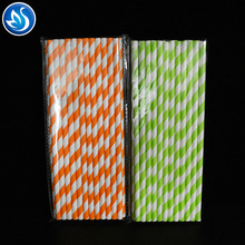 Disposable Color Striped Paper Artistic Straw for Party