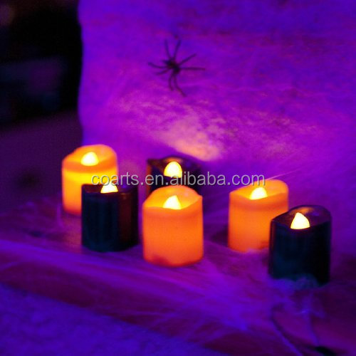 Set of 6 Black Orange Halloween Battery LED Tea Light Candles