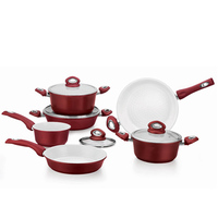 12pcs red italian prestige camping forged aluminum non-stick cookware set