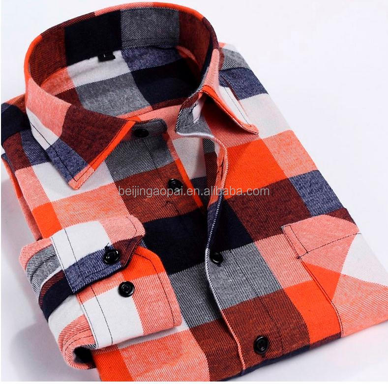 Custom logo controles casual katoen mens plain flanel shirt