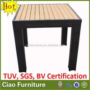 High end patio garden rattan furniture teak wood dining table