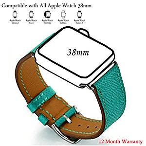 Apple Watch Band,Zoneyila Genuine Leather Strap Wrist Band for Apple Watch Iwatch Eduction&Sport (Cuff Peacock Blue 38mm)