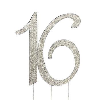Sweet Sixteen 16th Birthday Number Cake Topper 16 Rhinestone Bling Princess
