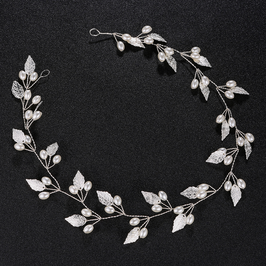 Wholesale Handmade Luxury Alloy Leaf Pearls Bridal <strong>Hair</strong> Band Headband Wedding <strong>Hair</strong> <strong>Accessories</strong>
