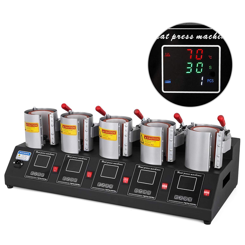 VEVOR Mug Press 5 in 1 Mug Heat Press 1500W Cup Heat Press Sublimation Machine High-Efficiency Cup Printing Mug Press Heat Machine with Individual Digital Controller