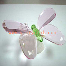lovely lifelike pink crystal glass butterfly