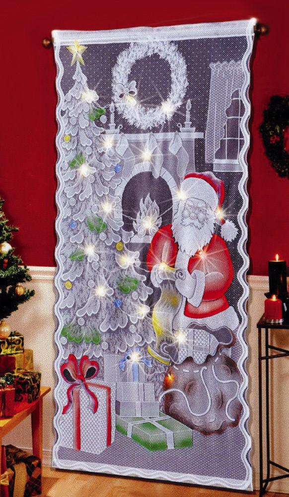 Gardinen Weihnachten.Weihnachtsweihnachtsmann Led Beleuchtete Spitze Vorhang Platte Mit Bunter Malerei Buy Led Beleuchtete Vorhänge Weihnachtsmann Vorhänge Weihnachten