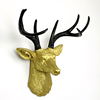 Glitter Antlers Deer Artificial Animal Statues Wall Mounted Resin Stag Deer Head