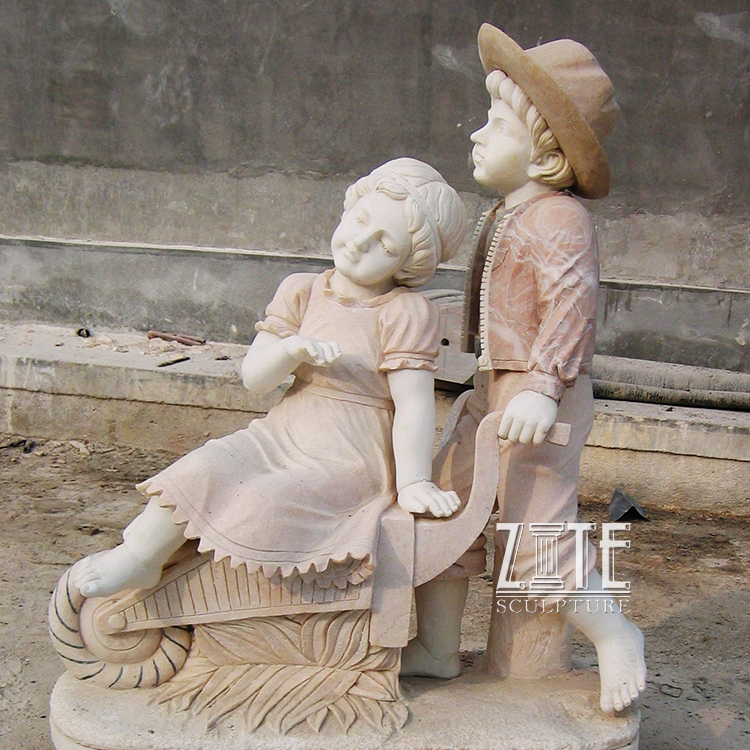 Hot Sale White Marble Life Size Little Naked Boy Angle Garden Statue Sculpture