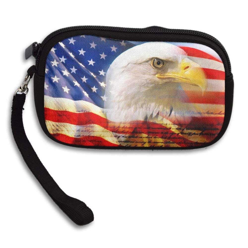 OCKLNT Unisex Clutch Wallet For Woman Ladies -American Flag Eagle Long Purse Bag Men Gentlemen