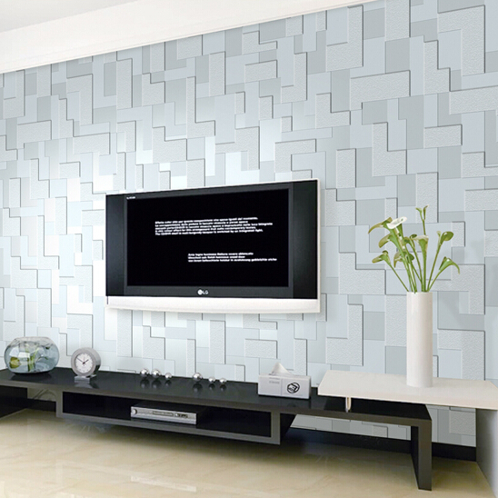 Modern 3d embossed feature nonwoven stereoscopic mosaic - Feature wall ideas living room wallpaper ...