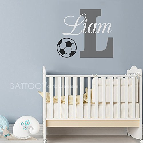 BATTOO Sports Wall Decal - Personalized Boys Name Decal With Football Basketball Soccer Baseball And Volleyball For Boys Room